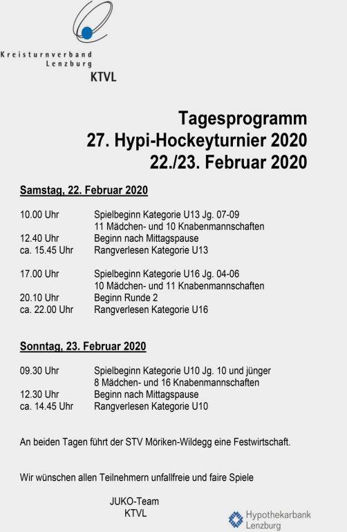 27. Hypi-Hockeyturnier 2020 Tagesprogramm